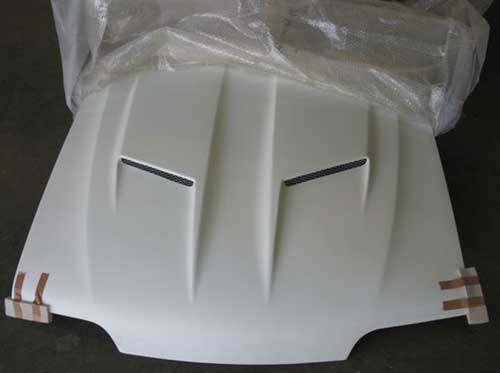 "87-93 Mustang CONCEPT X (GTX) - 4pc COMBO STALKER 2 Ram Air Hood COMBO Ultra White 4"" ROUND Fog Light With HALO RING"