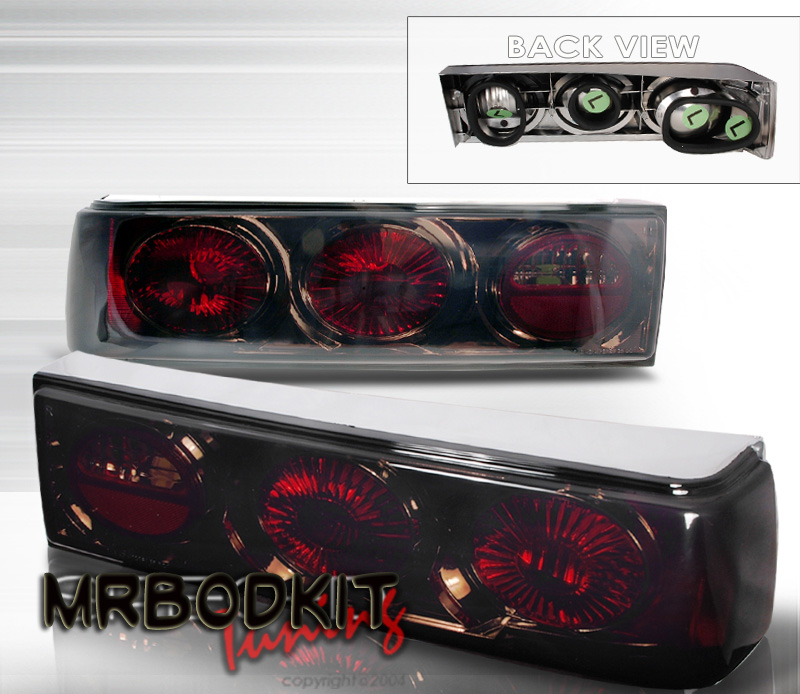 1987-1993 COMBO Mustang Headlights 1 PC Black (Pair) & Taillights Euro - SMOKED (Pair)