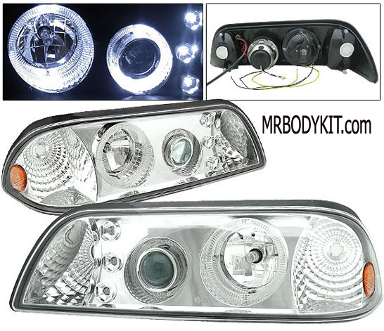 1987-1993 COMBO Mustang Headlights 1 PC Design - Projector Style - Chrome (Pair) & Taillights LED Gen 3 - BLACK (Pair)