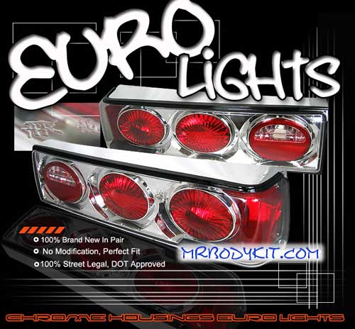 1987-1993 COMBO Mustang Headlights 1 PC - Projector Style - Black (Pair) & Taillights Euro - Chrome (Pair)