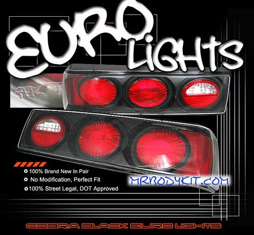 1987-1993 COMBO Mustang Headlights 6 PC Projector Style Chrome (Pair) & Taillights Euro - Black (Pair)