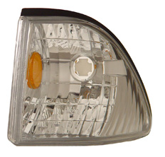 87-93 Mustang Outside Corner Lights - Chrome - With Amber (Pair)