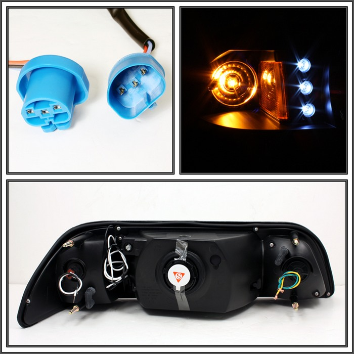 87-93 Mustang Headlights 1 PC Design - Neo Style Gen 2 with LED - Black (Pair)