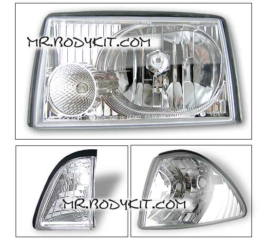 87-93 Mustang Headlights 6 PC - GEN-2 Style - Chrome (Pair)