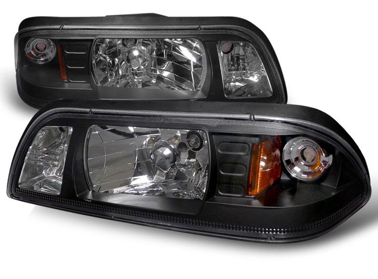 87 93 Mustang Headlights 1 Pc Design Neo Style Black Pair