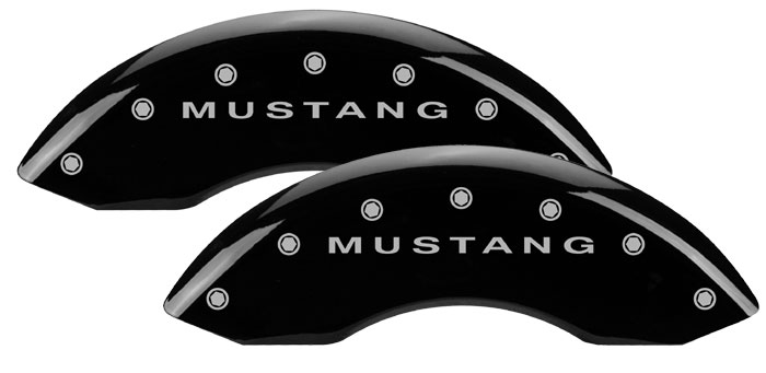 1979-1993 Mustang GT/V6 Caliper Cover (2 PC Front Kit) - BLACK - MUSTANG Logo