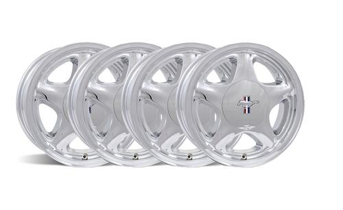 1979-93 Ford Mustang Pony Wheel w/ Ford Licensed Center Cap (4 RIM PACKAGE) - 16X7 CHROME - Fox Body