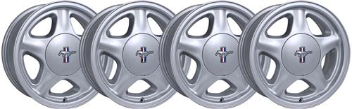 1979-93 Ford Mustang Pony Wheel w/ Ford Licensed Center Cap (4 RIM PACKAGE) - 16X7 Silver - Fox Body