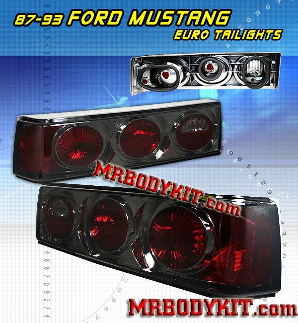 83-93 Mustang Taillights Euro - SMOKED (Pair)
