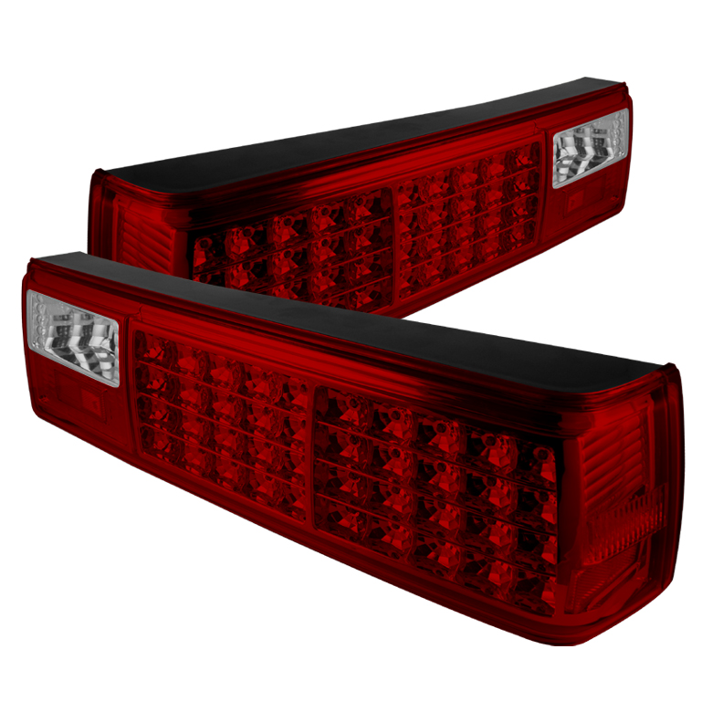 87-93 Mustang Taillights LED Gen 1 - RED Clear (Pair)