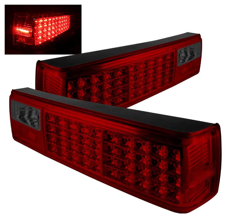 87-93 Mustang Taillights LED Gen 1 - RED Smoked (Pair)