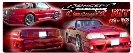 87-93 Mustang CONCEPT X (GTX) - 4pc Body kit - Fits GT / LX (Fiberglass)