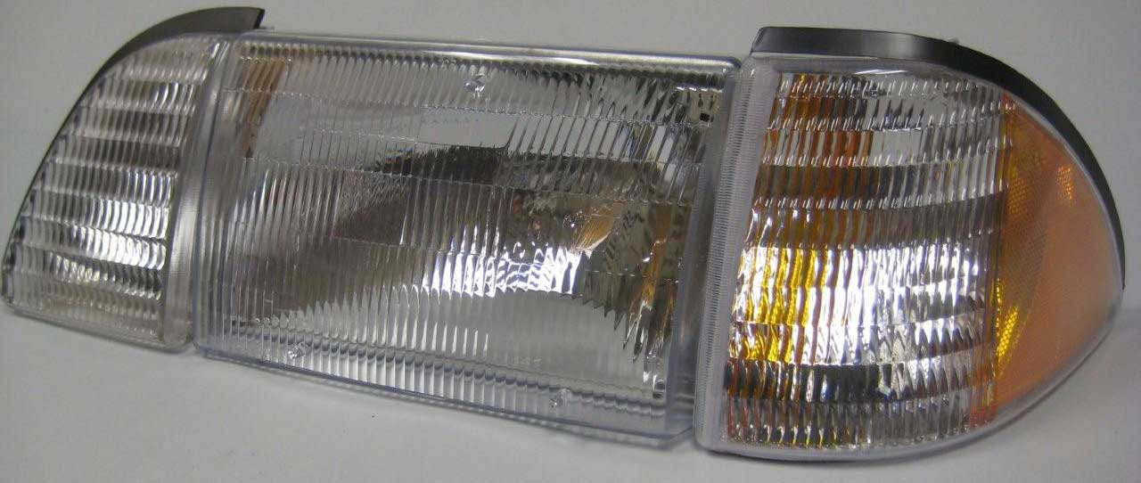 87-93 Mustang Headlights 6 PC - OEM - Chrome Clear w/Amber (Pair)