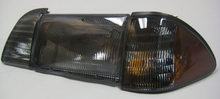 87-93 Mustang Headlights 6 PC - OEM Style - Smoked w/Amber (Pair)