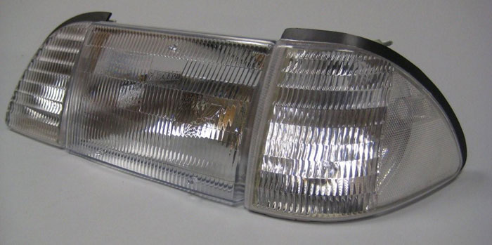 87-93 Mustang Headlights 6 PC - OEM - Chrome Clear NO Amber (Pair)