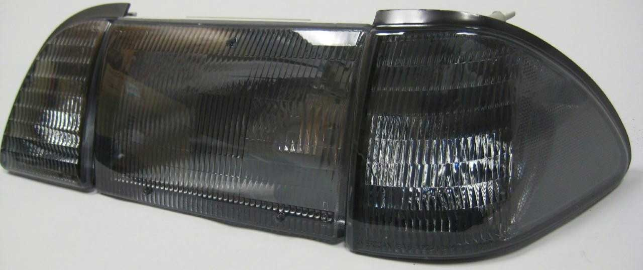 87-93 Mustang Headlights 6 PC - OEM Style - Smoked No Amber (Pair)