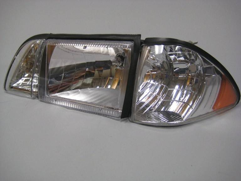 87-93 Mustang Headlights 12 PC - GEN-1 Plain Style - Euro Chrome w/Amber w/Gaskets (Pair)