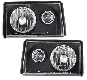 87-93 Mustang Headlights Projector - 2 PC Black - (Pair)
