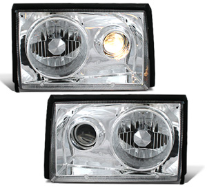 87-93 Mustang Headlights Projector - 2 PC Chrome - (Pair)