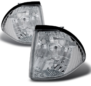 87-93 Mustang Outside Corner Lights - Chrome - NO AMBER- (Pair)