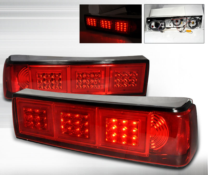 87-93 Mustang Taillights LED Gen 2 - RED Lens (Pair)