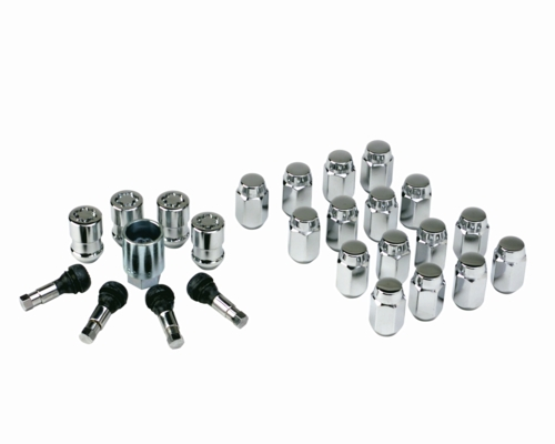 1979-2014 Mustang 5 Lug Chrome Locking Lug Nut and Chrome Stem Kit 25 Peice
