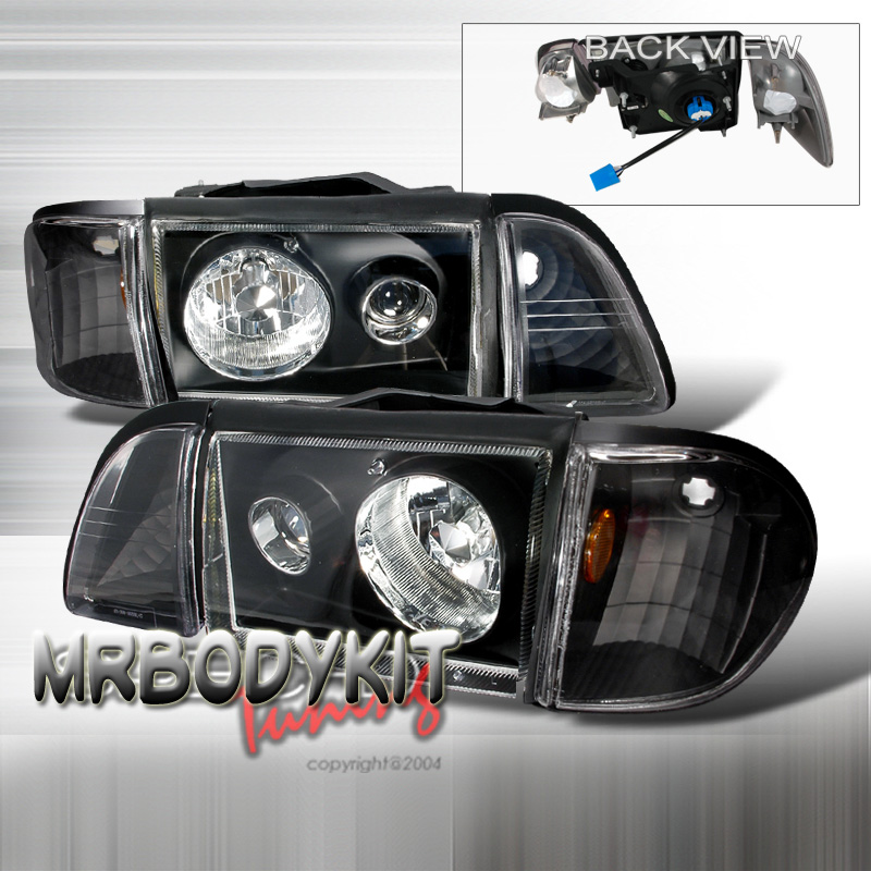 87-93 Mustang Headlights 6 PC - Projector Style - Black NO AMBER CORNERS (Pair) CLEARANCE SALE