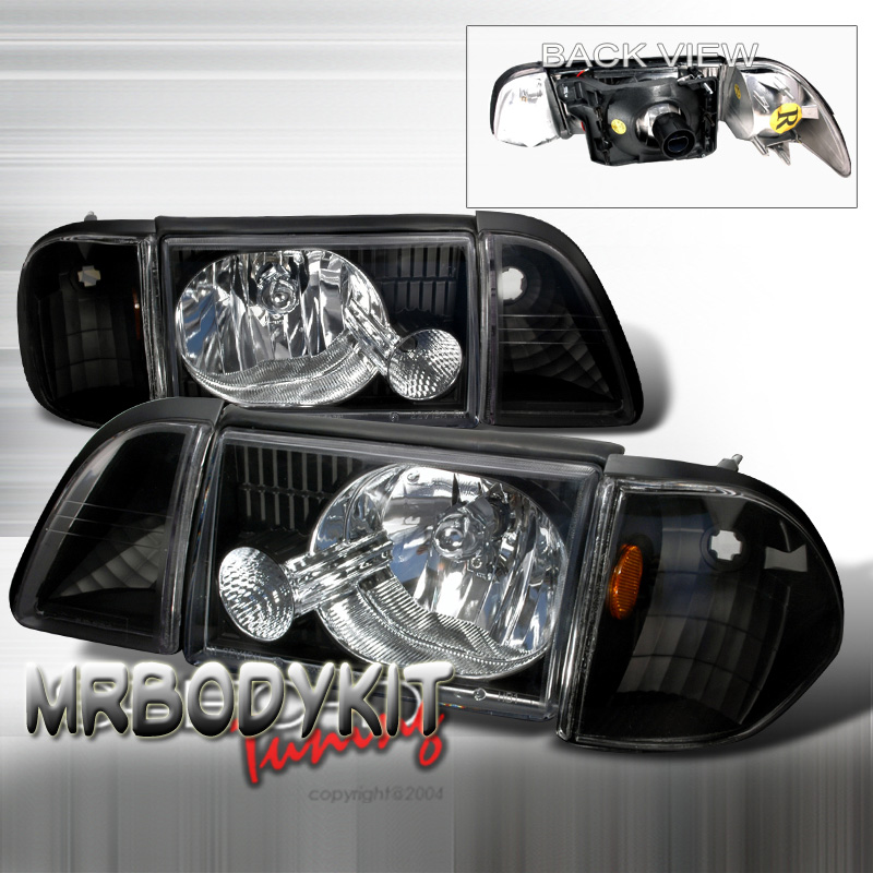 87-93 Mustang Headlights 6 PC - GEN-2 Style - Black (Pair)