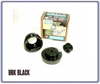 BBK 79-93 5.0L Under drive Pulley Set - Black
