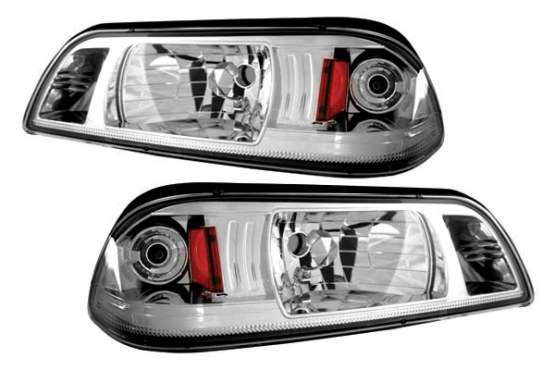 87-93 Mustang Headlights 1 PC Design - Gen 3 - Chrome (Pair)