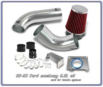 89-93 Mustang 5.0L V8 Intake Kit - Chrome Pipes Part # F1X10C (In fender mount)