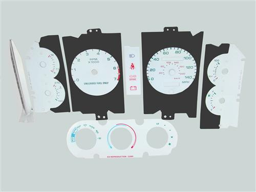 1987-1989 Mustang 5.0L White Face Gauge Kit w/ Warning Strip - 140Mph Speedo (NO A/C)