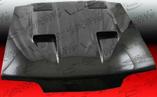 87-93 Mustang Mach 5 Style with forward and reverse Scoops Hood (CARBON FIBER)