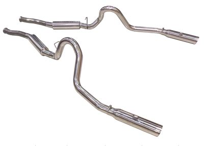 "1979-2004 Mustang GT Pype Bomb Cat Back System featuring aggressive sound 304 stainless M-80 Mufflers & 3.5"" Tips"