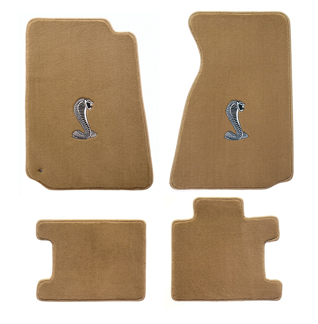 1994-1998 Mustang Convertible Floor Mats - Parchment (5 Emblem Options)