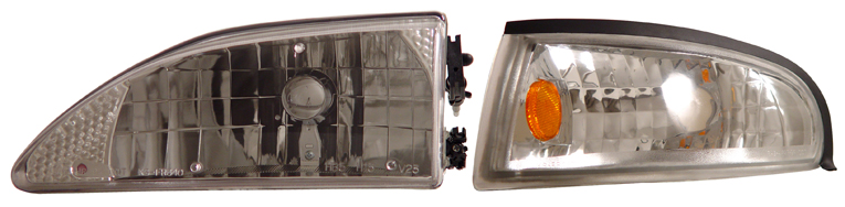 94-98 Mustang Headlights 4 PC - Gen 1 Style w/Corners - CHROME (Pair)