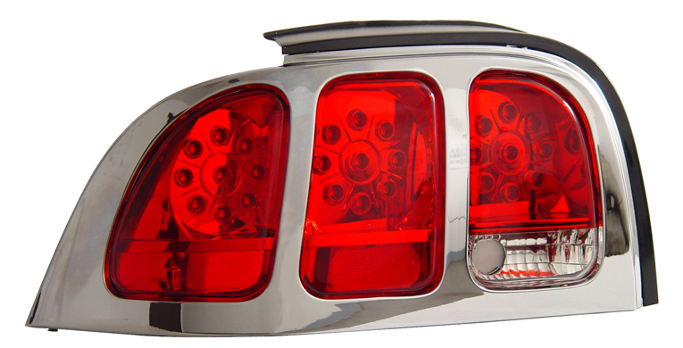 94-98 Mustang Taillights Gen 5 Style - LED Powered Red Lens w/Chrome Bezel (Pair)