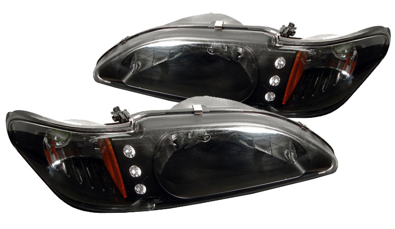 94-98 Mustang Headlights 1 PC - BLACK Style 018 (Pair)