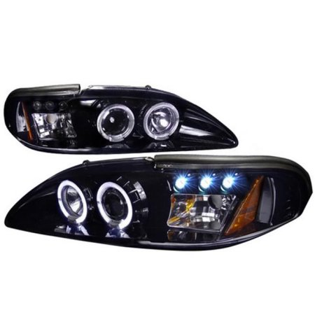 94-98 Mustang Headlights 1PC - Angle Eye Dual Halo LED Projector GLOSSY BLACK Slight Smoked (Pair) (H.I.D Compatible)