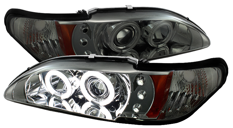 94-98 Mustang Headlights 1PC - Angle Eye Dual Halo CCFL - LED Projector SMOKED LENS Style CCFL (Pair)