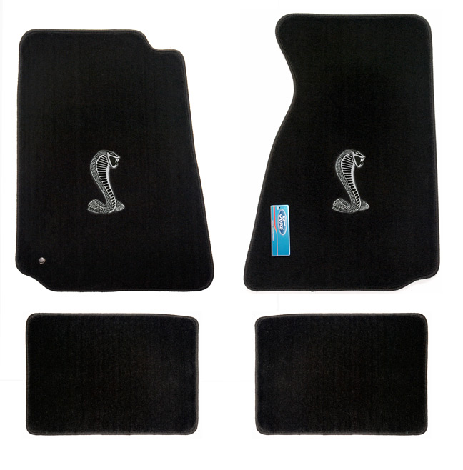 1994-1998 Mustang Convertible Floor Mats - Black (6 Emblem Options)