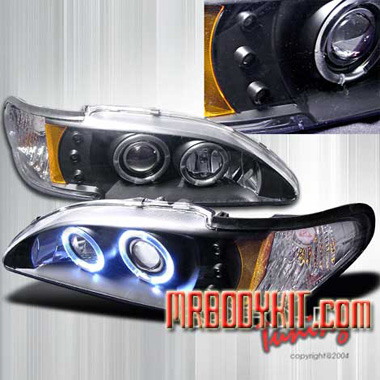94-98 Mustang Headlights 1PC - Angle Eye Dual Halo LED Projector BLACK Style 006 (Pair)
