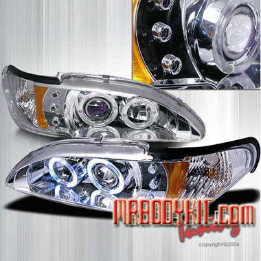94-98 Mustang Headlights 1PC - Angle Eye Dual Halo LED Projector CHROME Style 005 (Pair)