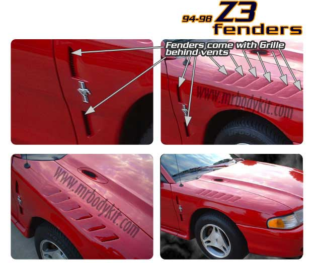 94-98 Mustang Z3 Fenders Fiberglass (Pair) (Most Popular)