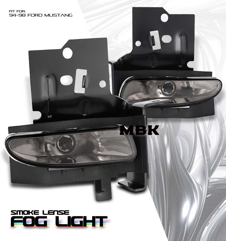 1994-98 COMBO Mustang GT/V6 Fog Lights Black Smoked & MB Round Side Scoops
