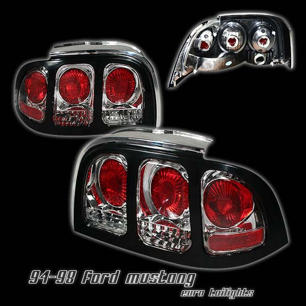 1994-1998 COMBO Mustang Headlights 1PC - Angle Eye LED Projector CHROME (Pair) & Taillights Gen 2 Chrome w/ Black bezel