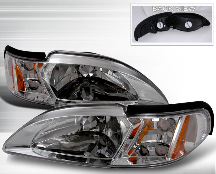 1994-1998 COMBO Mustang Headlights 1PC-Euro Stream Line CHROME (Pair) & Taillights Gen 2-Chrome Housing w/Chrome bezel