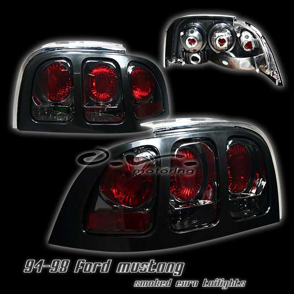 94-98 Mustang Taillights Gen 2 Style - Chrome Housing w/Smoked Lens & Black Bezel (Pair)