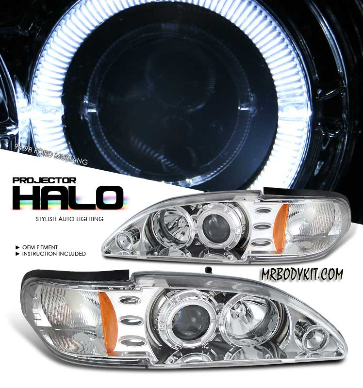 94-98 Mustang Headlights 1PC - Angle Eye LED Projector CHROME Style 007 (Pair)