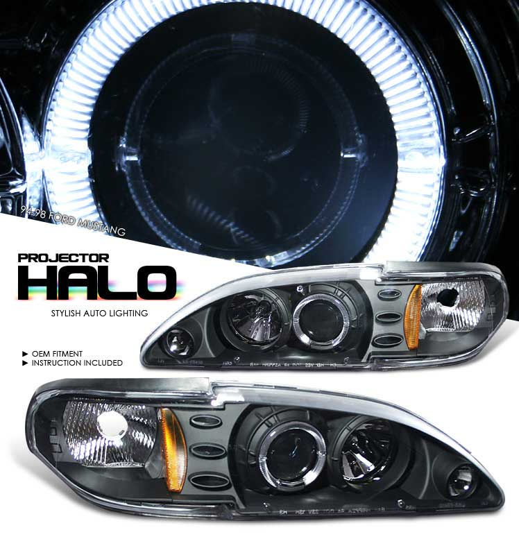 94-98 Mustang Headlights 1PC - Angle Eye LED Projector BLACK Style 008 (Pair)